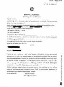 Decreto ingiuntivo Tribunale di Ferrara