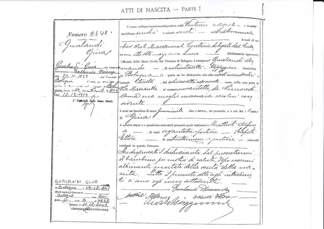 Copia integrale dell'atto di nascita della sig.ra Gina Gualandi