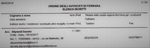 L'Avvocato Daniele Aliprandi nell'Elenco degli Avvocati disponibili al patrocinio a Spese dello Stato in materia civile